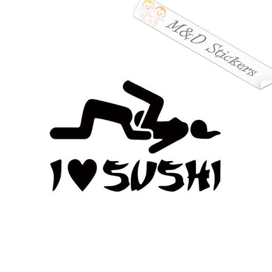 2x I love sushi Vinyl Decal Sticker Different colors & size for Cars/Bikes/Windows
