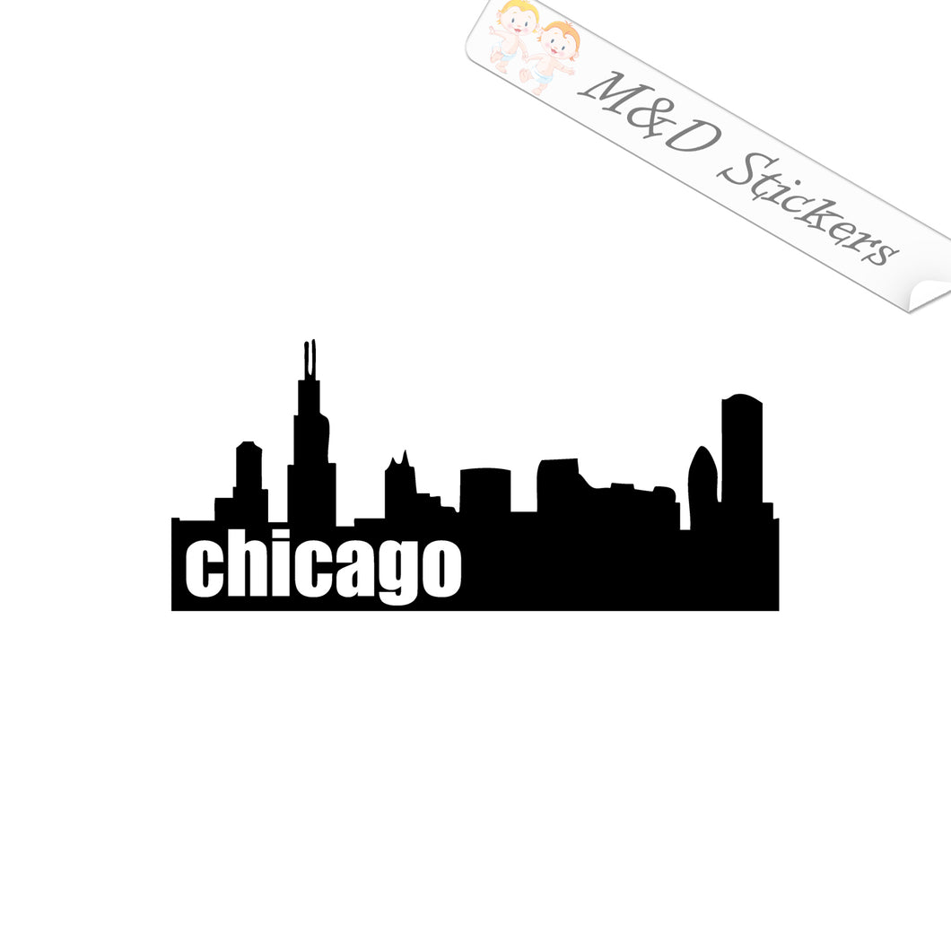 2x American Chicago City Skyline Vinyl Decal Sticker Different colors & size for Cars/Bikes/Windows
