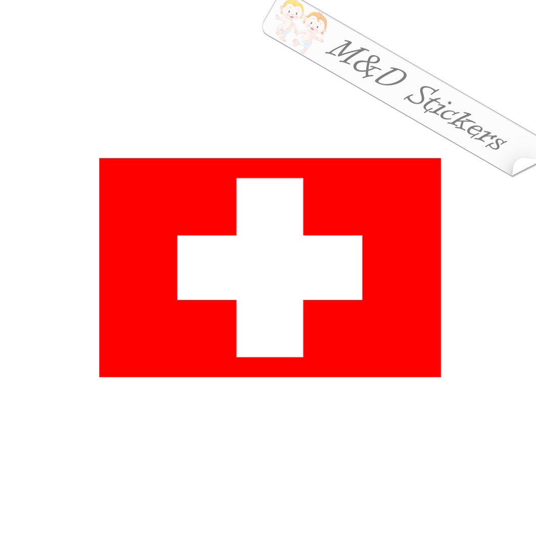 2x Switzerland Flag Vinyl Decal Sticker Different colors & size for Cars/Bikes/Windows