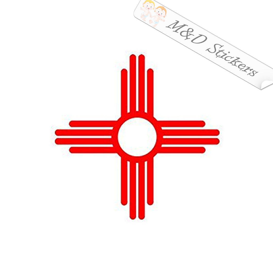 2x New Mexico State Flag Vinyl Decal Sticker Different colors & size for Cars/Bikes/Windows