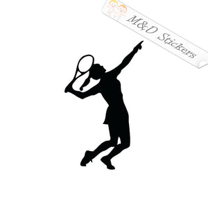 2x Tennis female player Vinyl Decal Sticker Different colors & size for Cars/Bikes/Windows