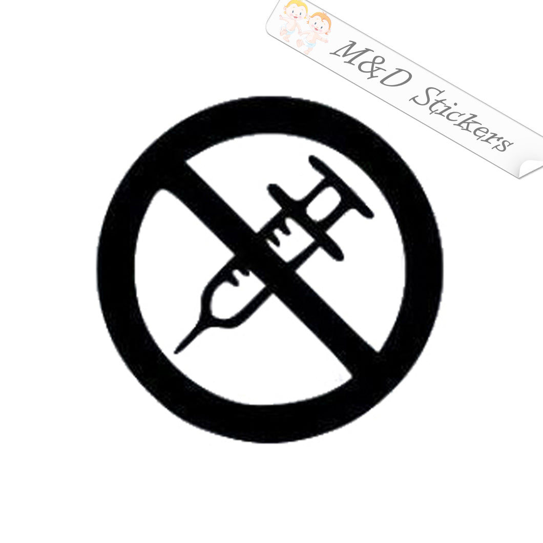 2x No Vaccine Vinyl Decal Sticker Different colors & size for Cars/Bikes/Windows