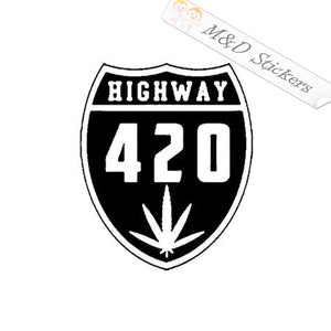2x 420 Highway Vinyl Decal Sticker Different colors & size for Cars/Bikes/Windows