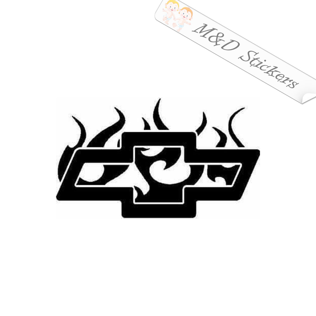 2x Chevrolet in flame Logo Vinyl Decal Sticker Different colors & size for Cars/Bikes/Windows