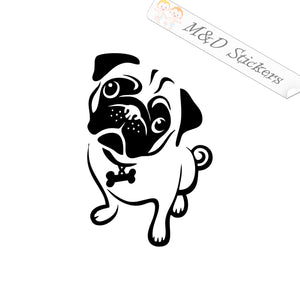 2x Cute Pug Dog Vinyl Decal Sticker Different colors & size for Cars/Bikes/Windows
