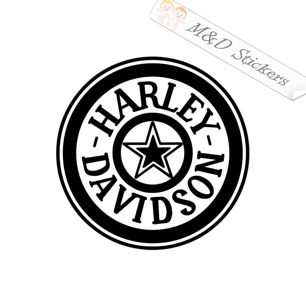 2x Round Harley-Davidson Logo Vinyl Decal Sticker Different colors & size for Cars/Bikes/Windows