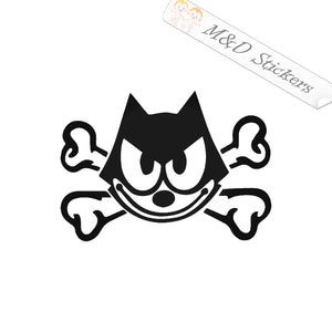 2x Felix the Cat Crossbones Vinyl Decal Sticker Different colors & size for Cars/Bikes/Windows