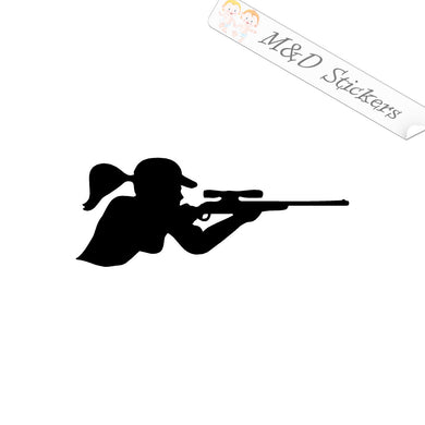 2x Lady sniper Vinyl Decal Sticker Different colors & size for Cars/Bikes/Windows