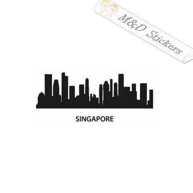 2x Singapore City Skyline Vinyl Decal Sticker Different colors & size for Cars/Bikes/Windows