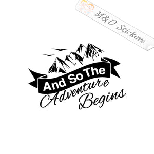 2x Adventure begins Vinyl Decal Sticker Different colors & size for Cars/Bikes/Windows