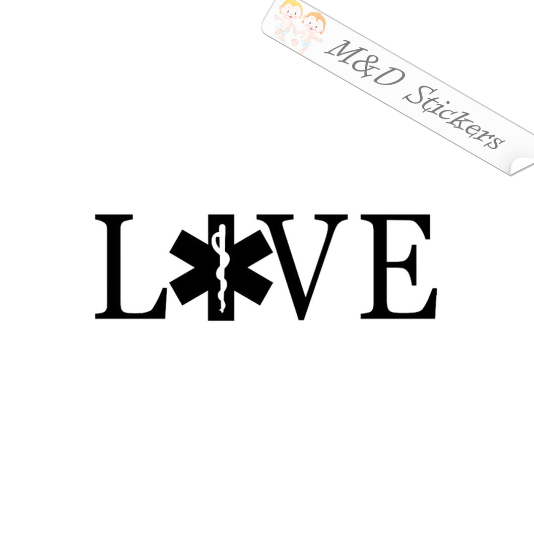 2x Love EMS Emergency team Vinyl Decal Sticker Different colors & size for Cars/Bikes/Windows