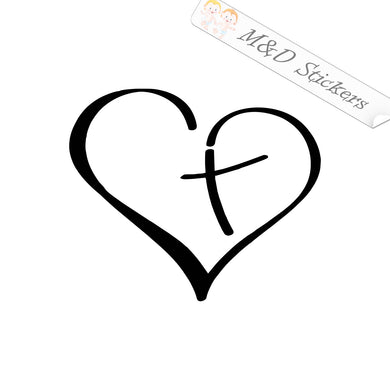 2x Heart love cross Vinyl Decal Sticker Different colors & size for Cars/Bikes/Windows