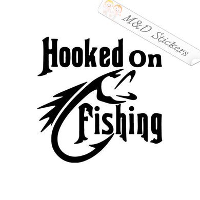 2x Hooked On Fishing Decal Sticker Different colors & size for Cars/Bikes/Windows