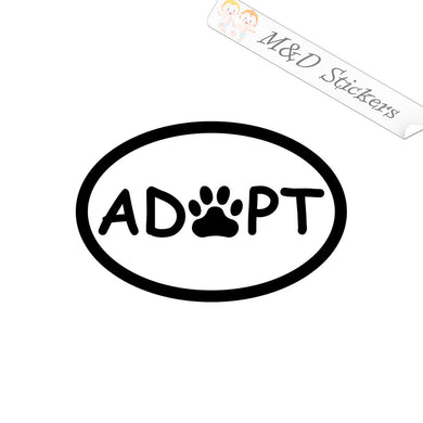 2x Adopt Paw Vinyl Decal Sticker Different colors & size for Cars/Bikes/Windows