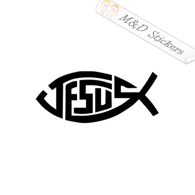 2x Jesus Fish Vinyl Decal Sticker Different colors & size for Cars/Bikes/Windows