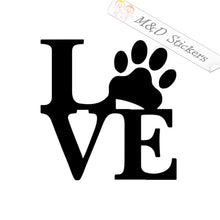 2x Love paw Vinyl Decal Sticker Different colors & size for Cars/Bikes/Windows