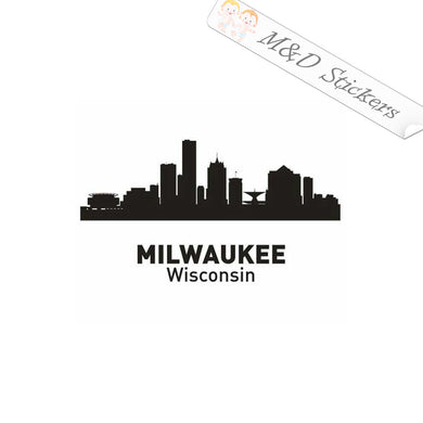 2x American Milwaukee City Wisconsin Skyline Vinyl Decal Sticker Different colors & size for Cars/Bikes/Windows