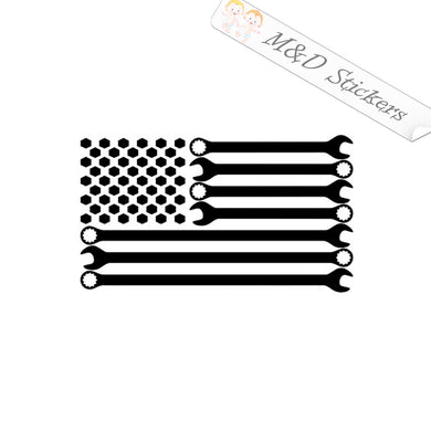 2x American US Flag wrenches Vinyl Decal Sticker Different colors & size for Cars/Bikes/Windows