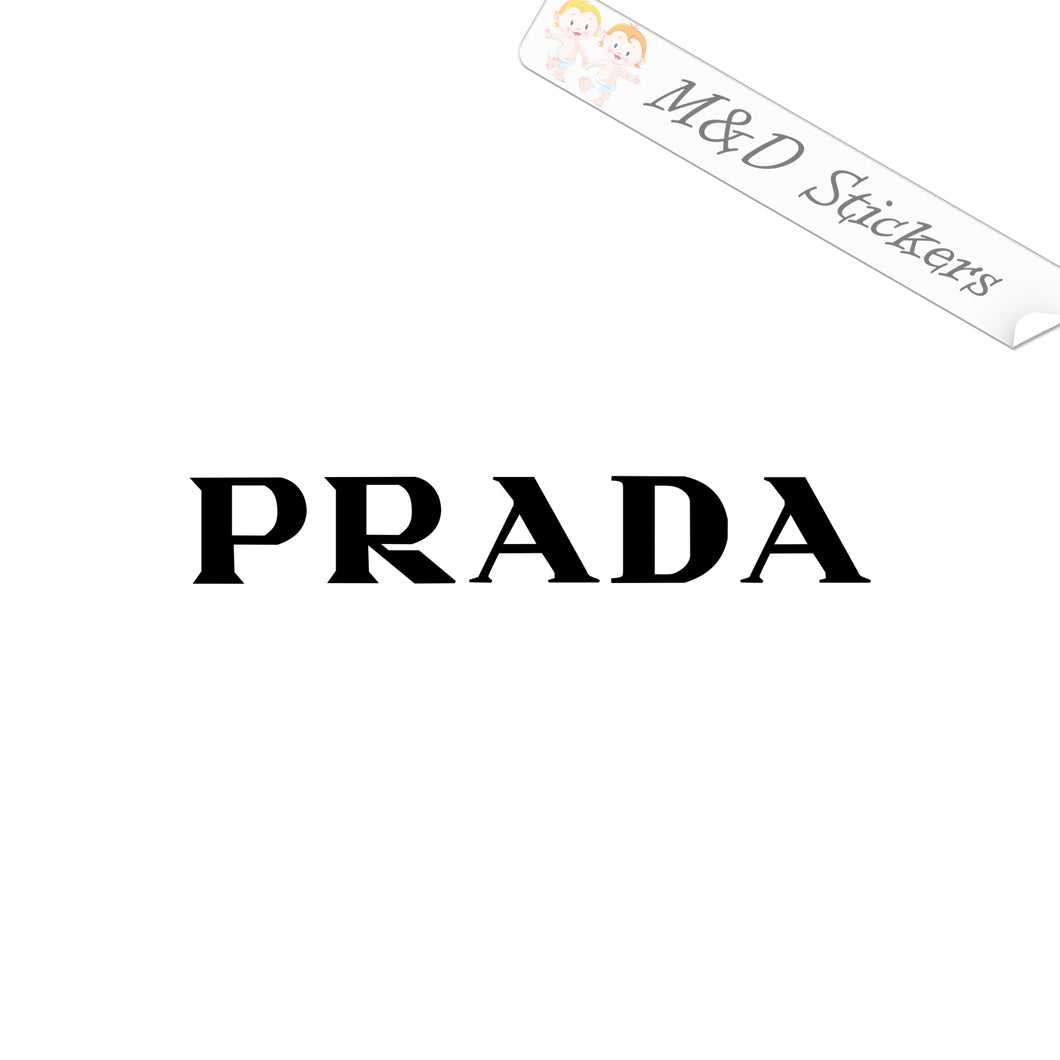 2x Prada Logo Vinyl Decal Sticker Different colors & size for Cars/Bikes/Windows