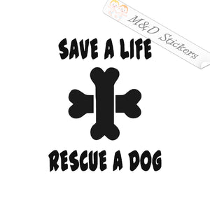 2x Rescue a Dog Vinyl Decal Sticker Different colors & size for Cars/Bikes/Windows