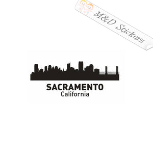 2x American Sacramento City Skyline Vinyl Decal Sticker Different colors & size for Cars/Bikes/Windows