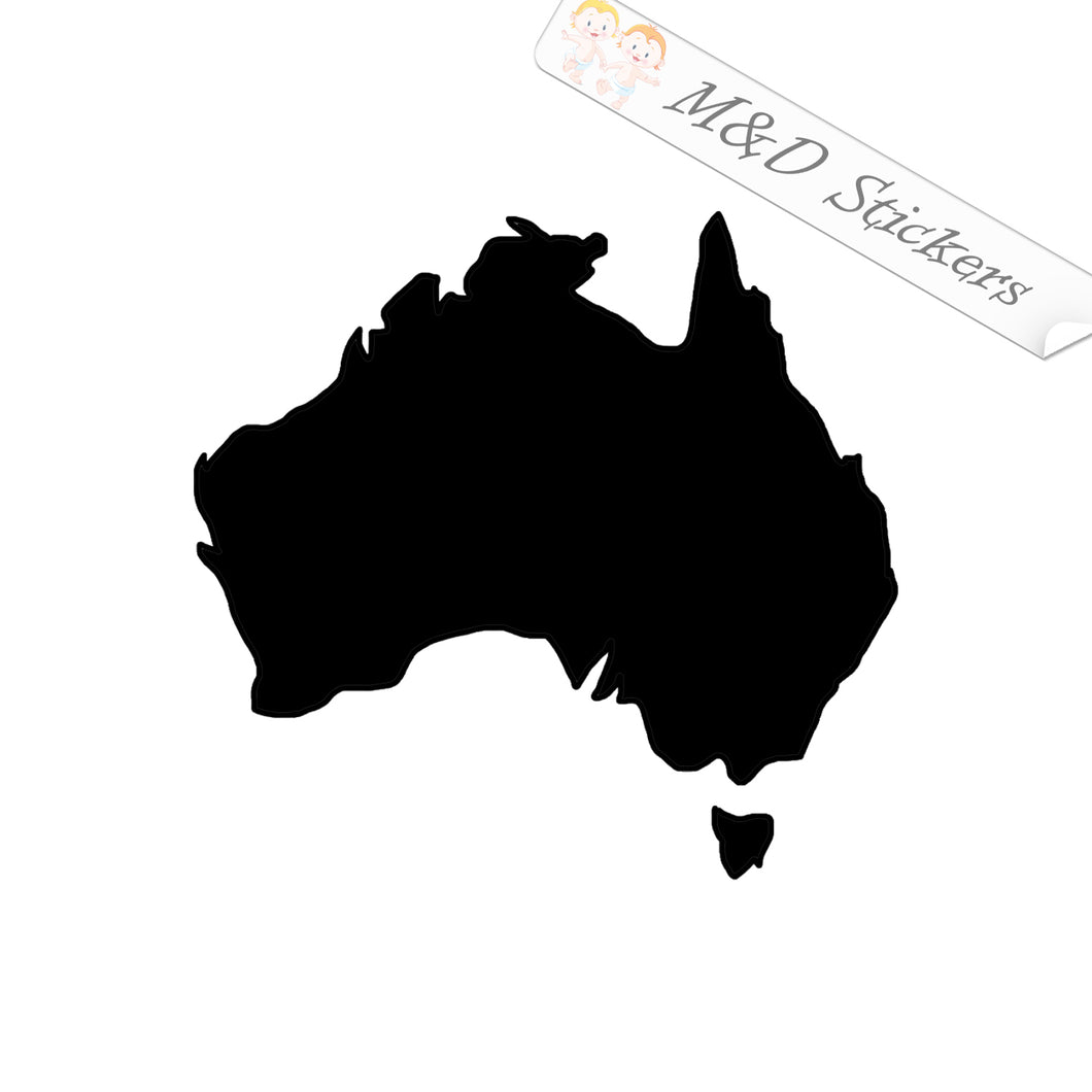 2x Australia shape Vinyl Decal Sticker Different colors & size for Cars/Bikes/Windows