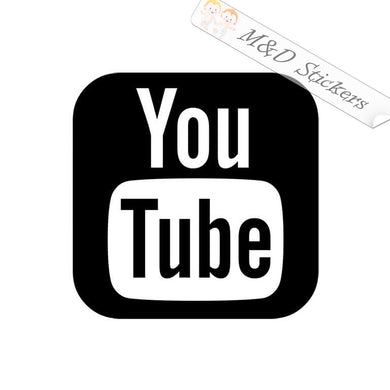 2x YouTube Logo Vinyl Decal Sticker Different colors & size for Cars/Bikes/Windows