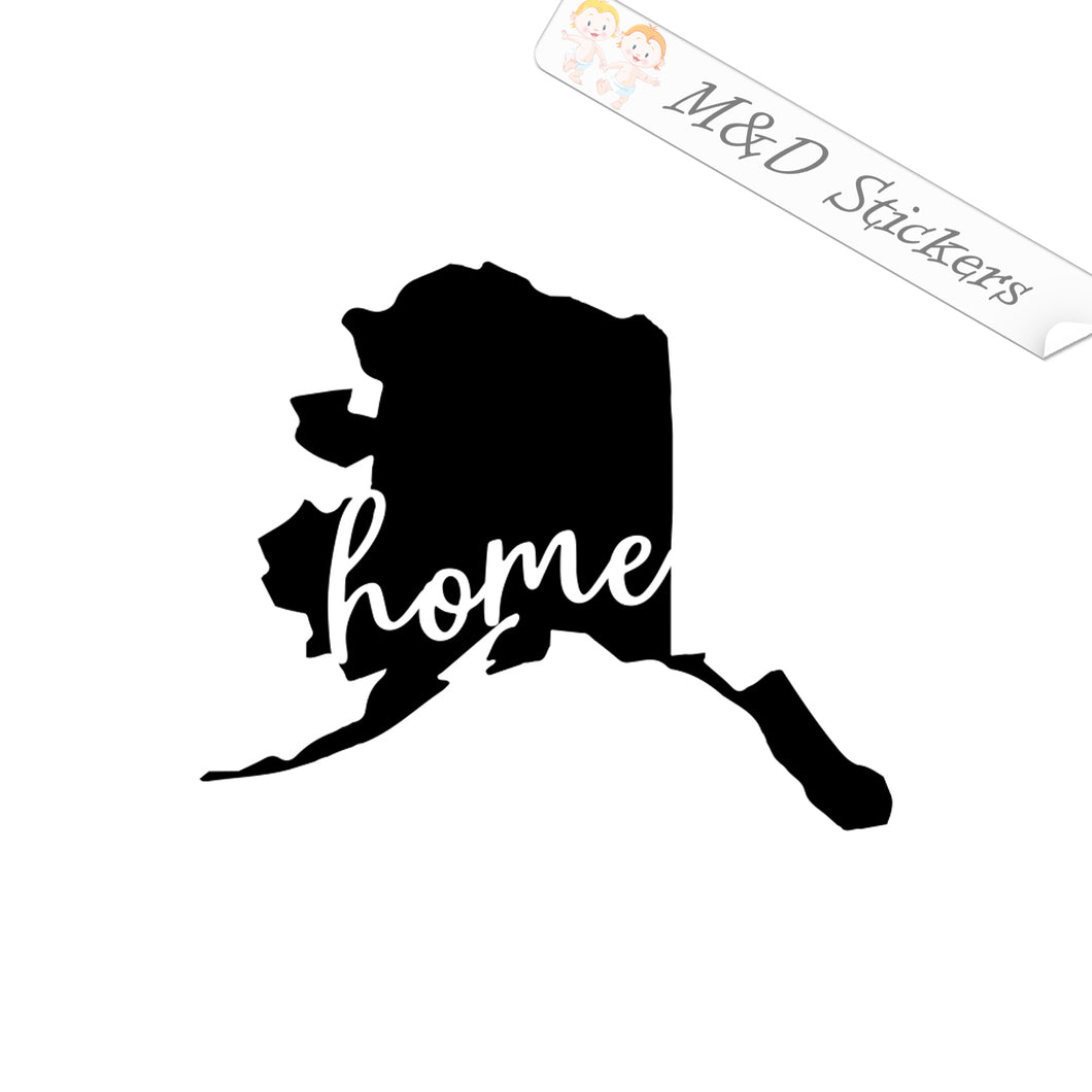 2x Alaska State Shape Home Vinyl Decal Sticker Different colors & size for Cars/Bikes/Windows