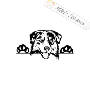 2x Peaking Australian sheppard Dog Vinyl Decal Sticker Different colors & size for Cars/Bikes/Windows