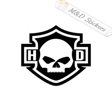 2x Harley skull outline Vinyl Decal Sticker Different colors & size for Cars/Bikes/Windows