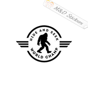2x Bigfoot Yeti - Hide and Seek World Champ Vinyl Decal Sticker Different colors & size for Cars/Bikes/Windows