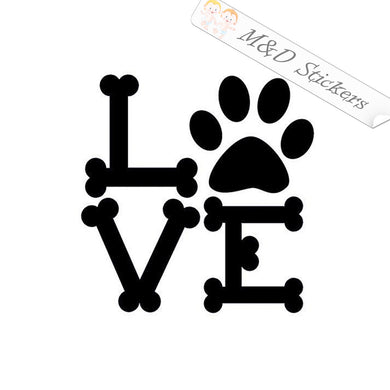 2x Love Paw bones Vinyl Decal Sticker Different colors & size for Cars/Bikes/Windows