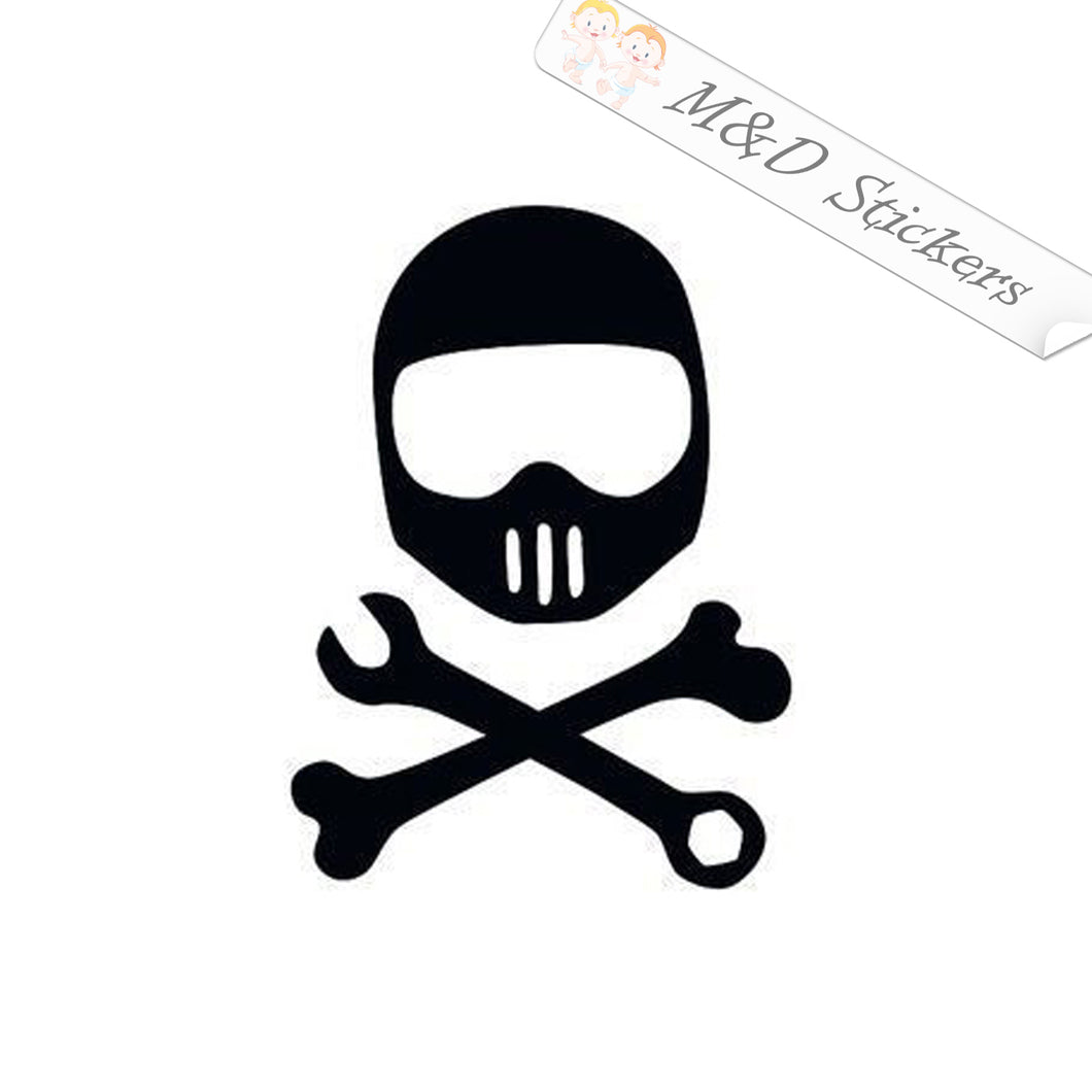 2x Biker bones and tools Vinyl Decal Sticker Different colors & size for Cars/Bikes/Windows