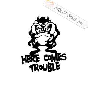 2x Here comes Trouble Vinyl Decal Sticker Different colors & size for Cars/Bikes/Windows