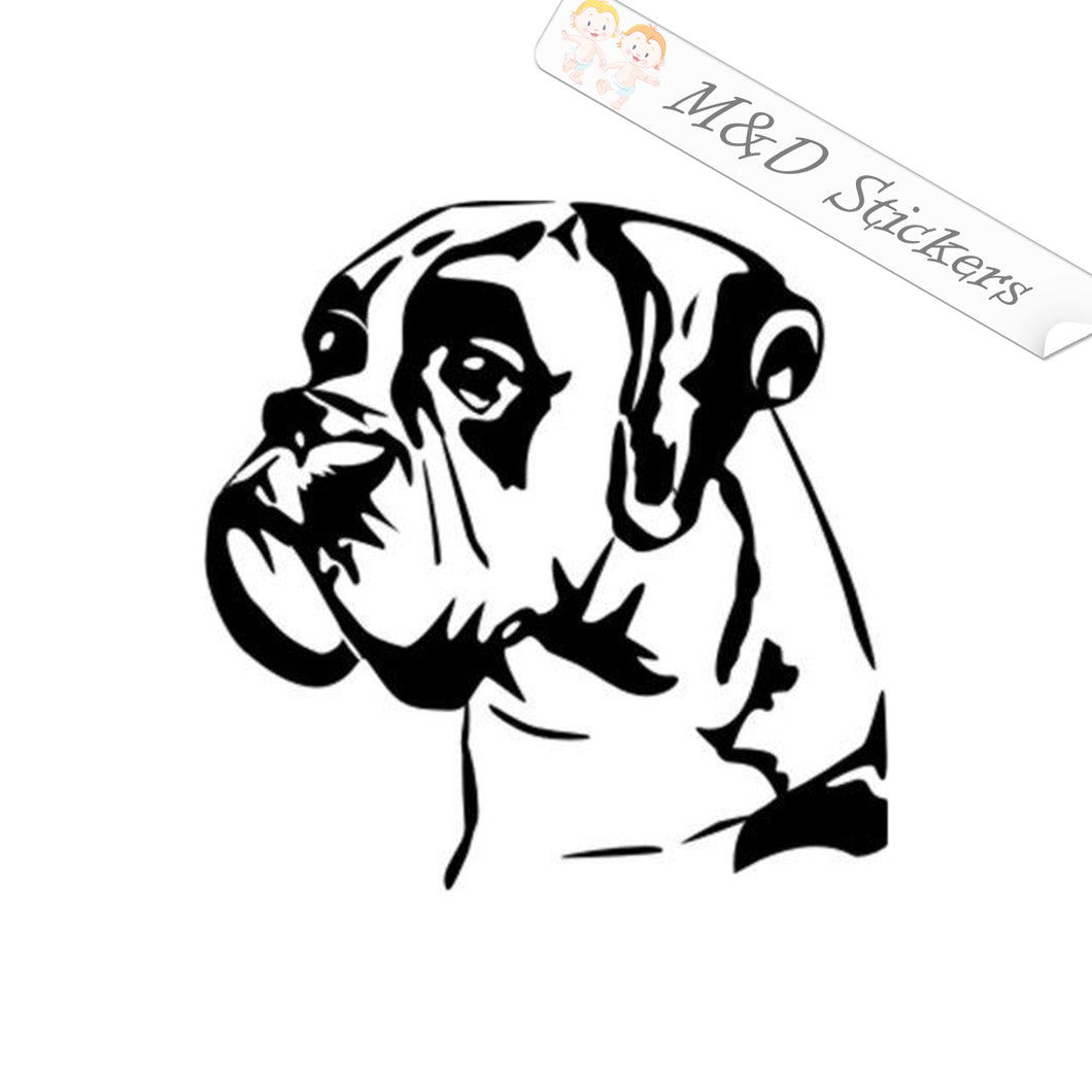 2x Boxer Dog Vinyl Decal Sticker Different colors & size for Cars/Bikes/Windows