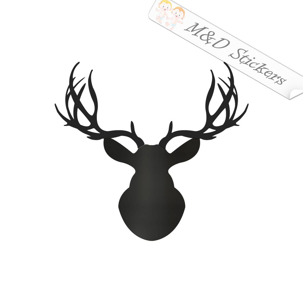 2x Deer Head Vinyl Decal Sticker Different colors & size for Cars/Bikes/Windows