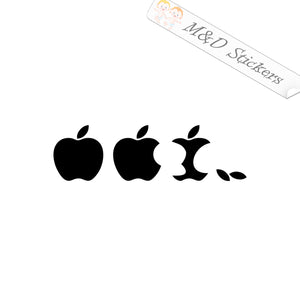 2x Eaten Apple Vinyl Decal Sticker Different colors & size for Cars/Bikes/Windows