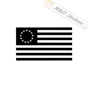 2x Betsy Ross American Flag Vinyl Decal Sticker Different colors & size for Cars/Bikes/Windows