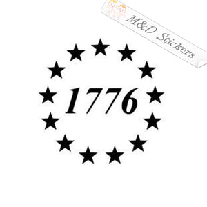 2x Betsy Ross 1776 American Flag Vinyl Decal Sticker Different colors & size for Cars/Bikes/Windows