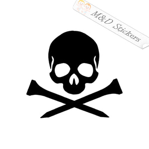 2x Golf skull crossbones Vinyl Decal Sticker Different colors & size for Cars/Bikes/Windows