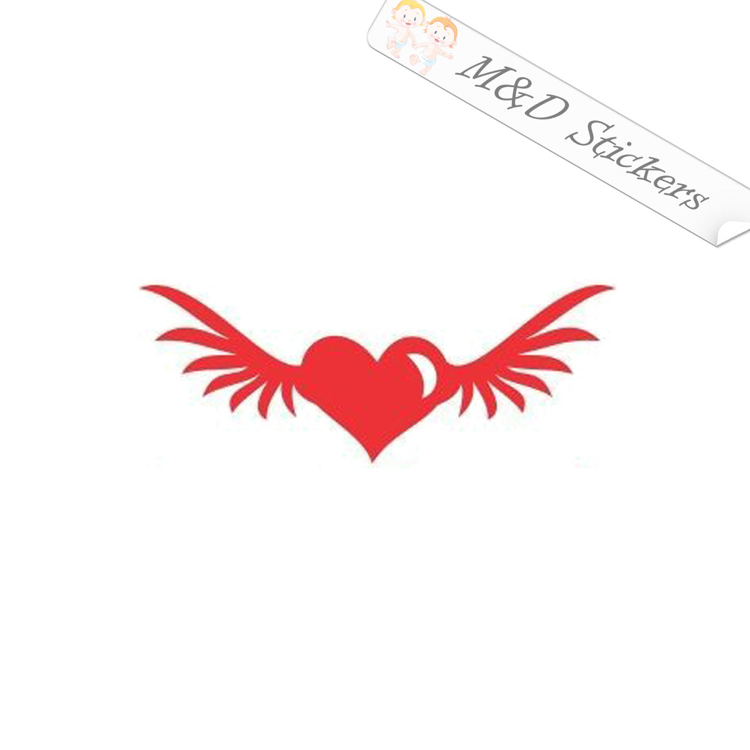 2x Heart with wings Vinyl Decal Sticker Different colors & size for Cars/Bikes/Windows