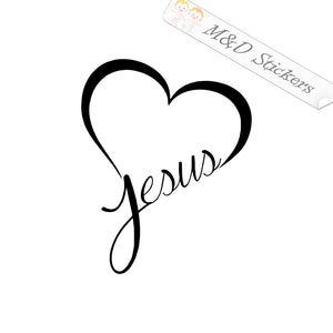 2x Heart Jesus love Vinyl Decal Sticker Different colors & size for Cars/Bikes/Windows