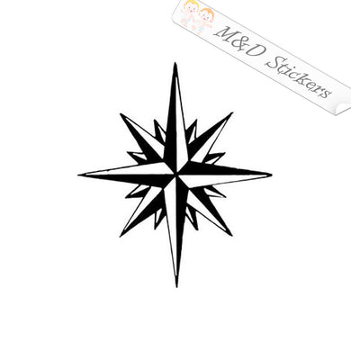 2x 16 point compass rose Vinyl Decal Sticker Different colors & size for Cars/Bikes/Windows