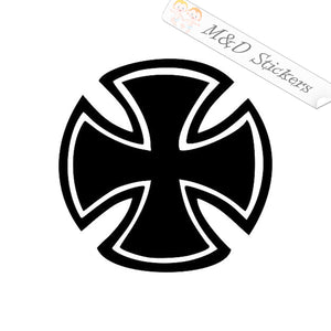 2x Round Maltese Cross Vinyl Decal Sticker Different colors & size for Cars/Bikes/Windows