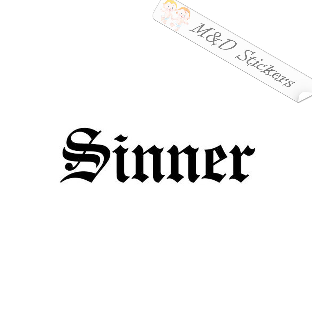2x Sinner Vinyl Decal Sticker Different colors & size for Cars/Bikes/Windows