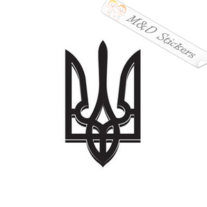 2x Ukrainian Trident Tryzub Coat of Arms Vinyl Decal Sticker Different colors & size for Cars/Bikes/Windows