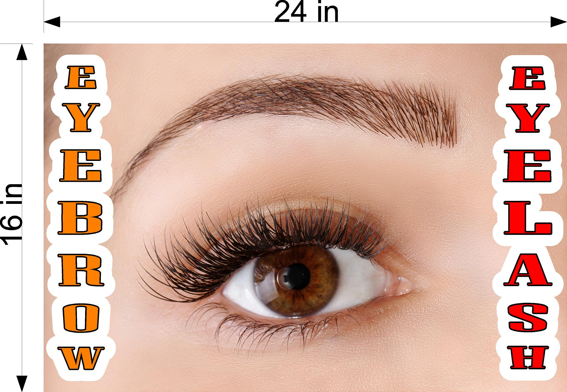 Eyebrows 15 Perforated Mesh One Way Vision See-Through Window Vinyl Salon Sign Eyelash Horizontal