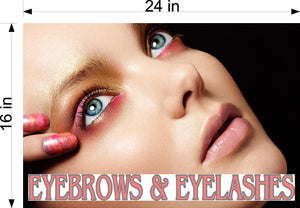 Eyebrows 13 Perforated Mesh One Way Vision See-Through Window Vinyl Salon Sign Eyelashes Horizontal