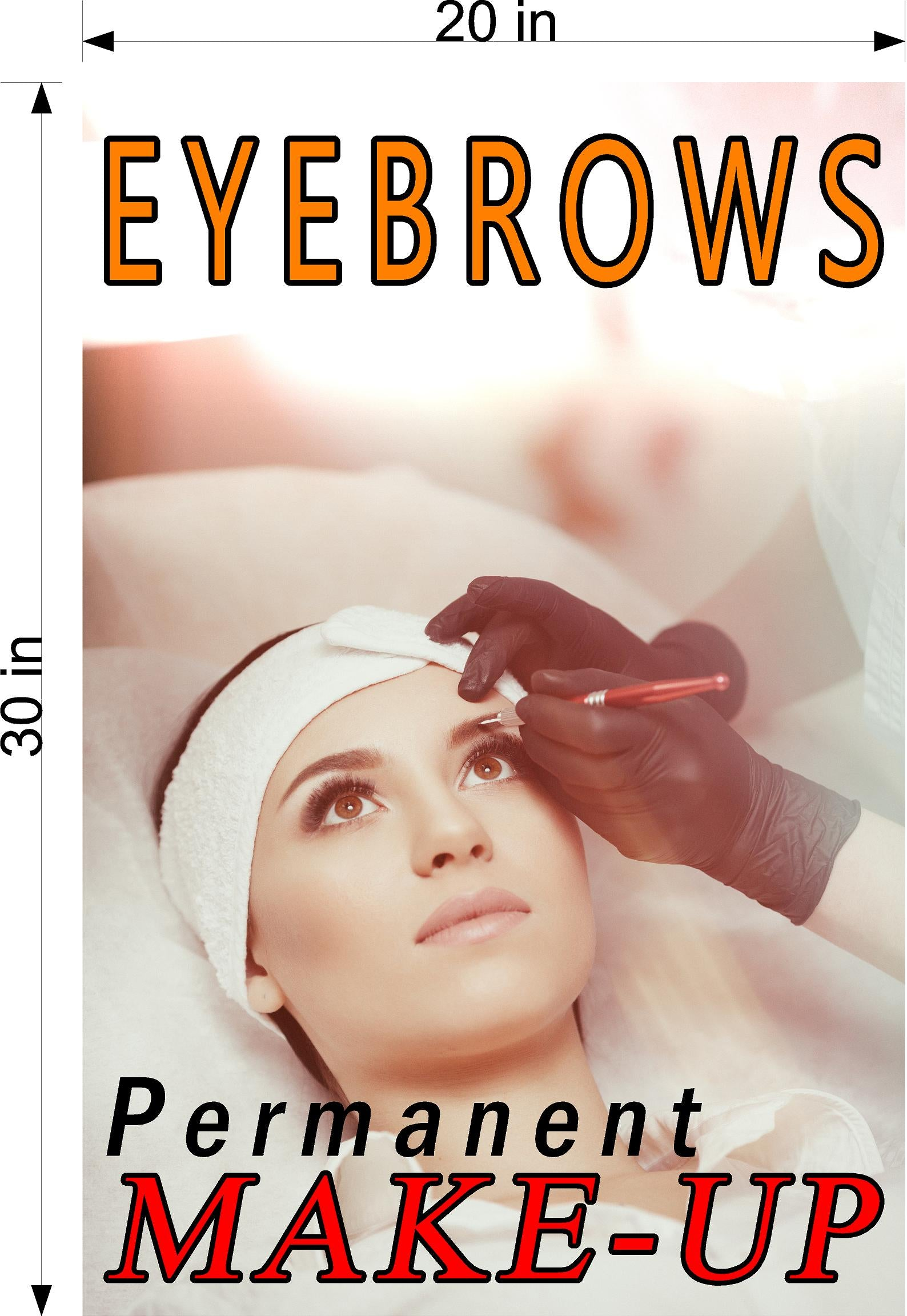 Eyebrows 11 Perforated Mesh One Way Vision See-Through Window Vinyl Salon Sign Permanent Make-Up Vertical