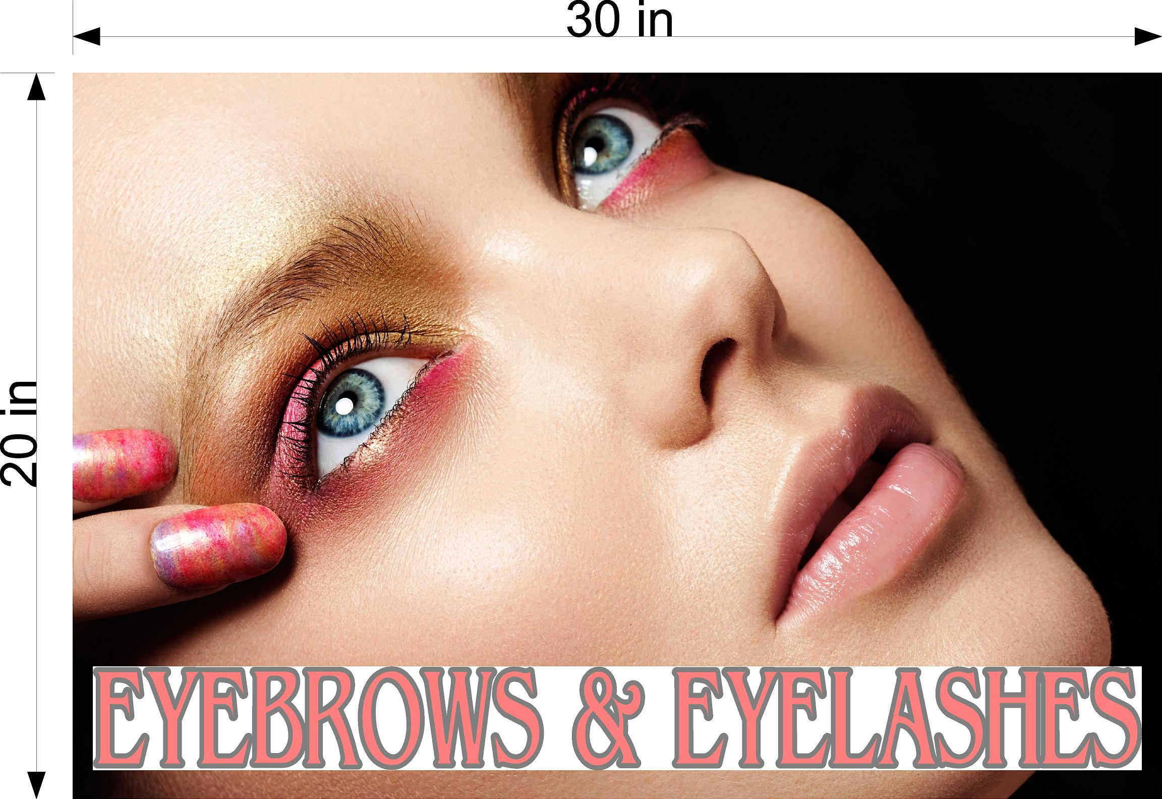 Eyebrows 13 Wallpaper Poster Decal with Adhesive Backing Wall Sticker Decor Indoors Interior Sign Eyelashes Horizontal